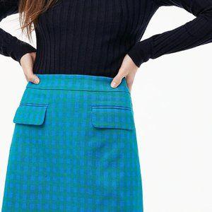 New J.Crew Retro Blue Gingham Pocket Skirt 14